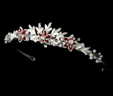 Silver Plated Red Floral Wedding Tiara