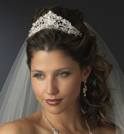 "Glamorous 2"" Crystal and Freshwater Pearl Wedding Tiara"