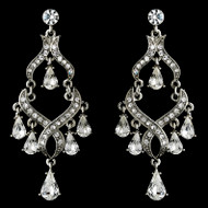 Vintage Look Rhinestone Encrusted Silver Chandelier Earrings