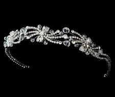 Rhodium Plated Rhinestone and Crystal Headband Tiara