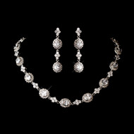 Rhodium Plated Cubic Zirconia Wedding Jewelry Set - sale!