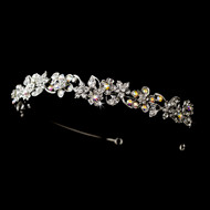 Rhodium Silver AB Crystal Floral Bridal and Prom Headband - sale!
