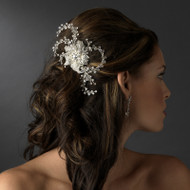 Rhinestone Spray Flower Bridal Comb - sale!