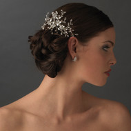 Rhinestone Swarovski Floral Spray Bridal Hair Comb