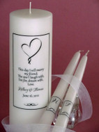 Ribbon Heart Verse Personalized Wedding Unity Candle Set