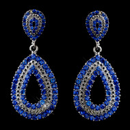 Royal Blue Crystal Earrings for Prom and Wedding