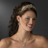 Romantic Gold Plated Tiara and Wedding Jewelry Set