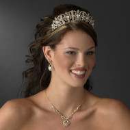 Royal Gold Plated Wedding Tiara and Matching Jewelry Set