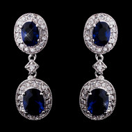 Sapphire Blue CZ Drop Bridal Earrings