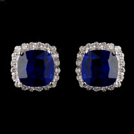 Sapphire Blue and Clear CZ Stud Earrings- sale!