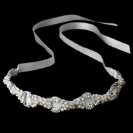 White Satin Ribbon Bridal Headband with Pearls - sale!
