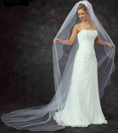 Scallop Edge Beaded Cathedral Wedding Veil - Many Colors!