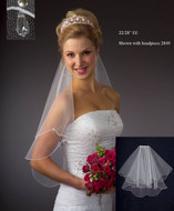 JL Johnson Bridal Elbow Veil with Crystal Drops - Many Colors!