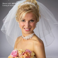 Short Three Layer Angel Dust Wedding Veil V5003