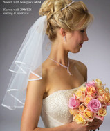 JL Johnson Bridals Short Two Tier Lace Edge Wedding Veil