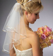 Custom Made Short Two Layer Wedding Veil with Satin Cord Edge