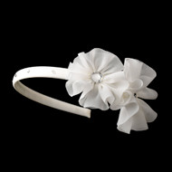 Side Accent Floral Flower Girl Satin Headband