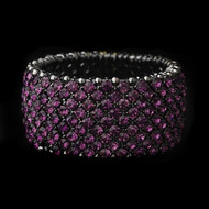 Purple Amethyst Rhinestone Stretch Bracelet