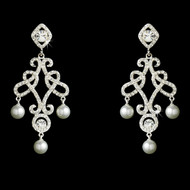 Glamorous Austrian Crystal and Pearl Chandelier Bridal Earrings