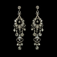 Antique Silver Chandelier Bridal Earrings