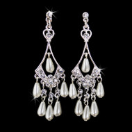 Silver Chandelier Earrings With Diamond White Pearls