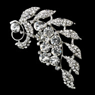 Silver PLated Crystal Leaf Bridal Brooch