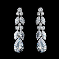 Elegant Silver Plated CZ Crystal Drop Bridal Earrings