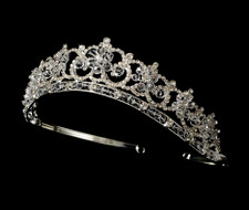 Regal Silver Plated Floral Crystal Bridal Tiara - sale!