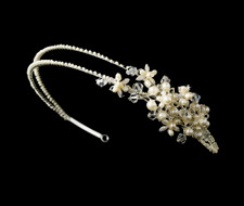 Ivory Pearl and Crystal Floral Side Accent Headband