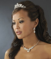 Silver Plated Bridal Tiara Comb and Jewelry Set