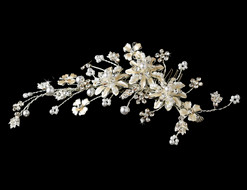 Silver Plated Champagne Flower and Pearl Bridal Comb