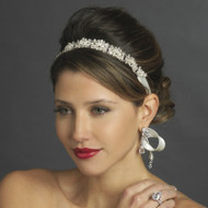 Silver Plated Crystal Wedding Ribbon Headband