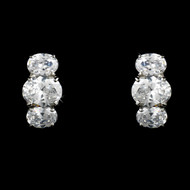 Silver Plated Cubic Zirconia Bridal Earrings