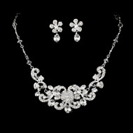 Silver Plated Floral Wedding Jewelry Set