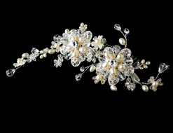 Silver Plated Freshwater Pearl and Crystal Bridal Comb