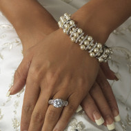 Silver Plated White or Ivory Pearl Bridal Stretch Bracelet