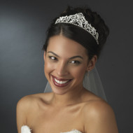 "Silver Plated Regal 2"" Tall Bridal Tiara"