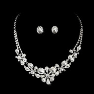Silver Plated Rhinestone Bridal Jewelry Set