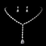 Silver Plated Teardrop CZ Bridal Jewelry Set