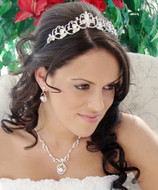 Silver Scroll Teardrop Rhinestone Tiara and Wedding Jewelry Set