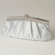 Silver Satin Evening Bag Wedding Purse with Crystal Trim