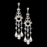 Silver Plated Crystal Bridal Chandelier Earrings