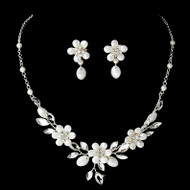 Frosted Swarovski Crystal Floral Bridal Jewelry Set
