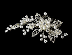Silver Plated White Pearl and Crystal Couture Bridal Comb