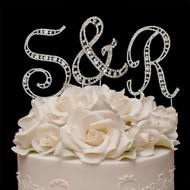 Small Vintage Elegance Crystal Letters Wedding Cake Topper
