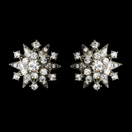 Clip On Snowflake Rhinestone Bridal Earrings