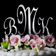 Sparkle Crystal Monogram Wedding Cake Topper