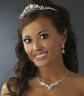 Sparkling Rhinestone Wedding Tiara and Jewelry Set