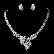 Stunning Cubic Zirconia Bridal Jewelry Set ne7516