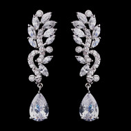 Stunning Cubic Zirconia Dangle Bridal Earrings